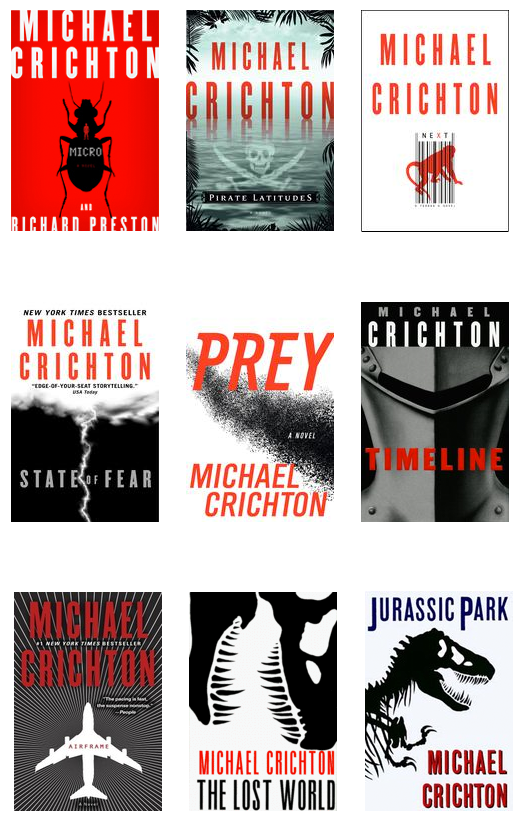 Michael Crichton's well branded book covers